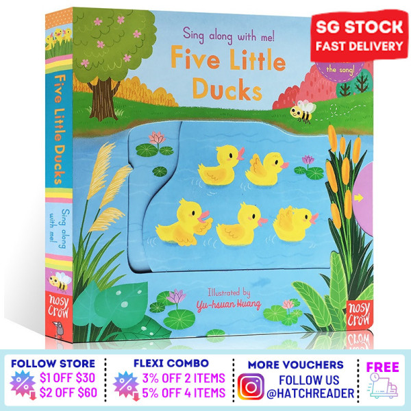 [SG Stock] Sing Along With Me! Five Little Ducks INTERACTIVE english story book Song for children child kids baby 0 1 2 3 years old sensory play flash card picture