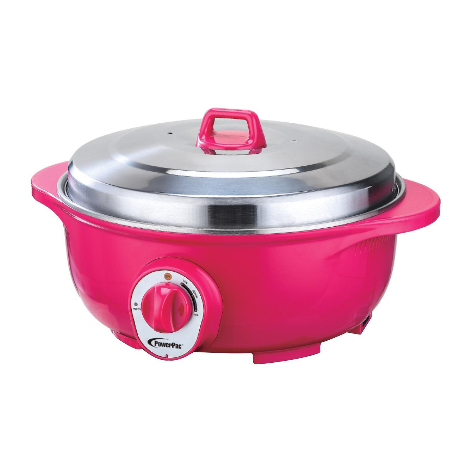 PowerPac Retro Electric Wok And Steamboat With 304 Stainless Steel Inner Pot (PPEC813)