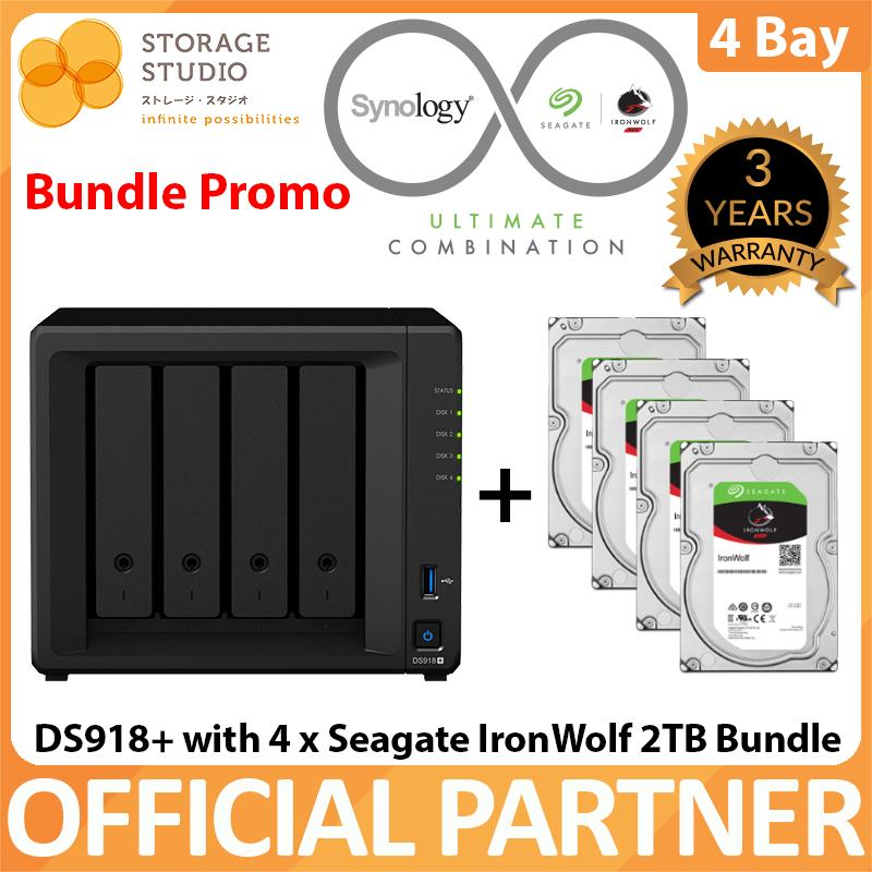Synology 4 Bay NAS DS918+ with 4GB memory with 4 X Seagate IronWolf 2TB NAS  HDD (Seagate Ironwolf 8TB Bundle)   Local Distributor Warranty  Award