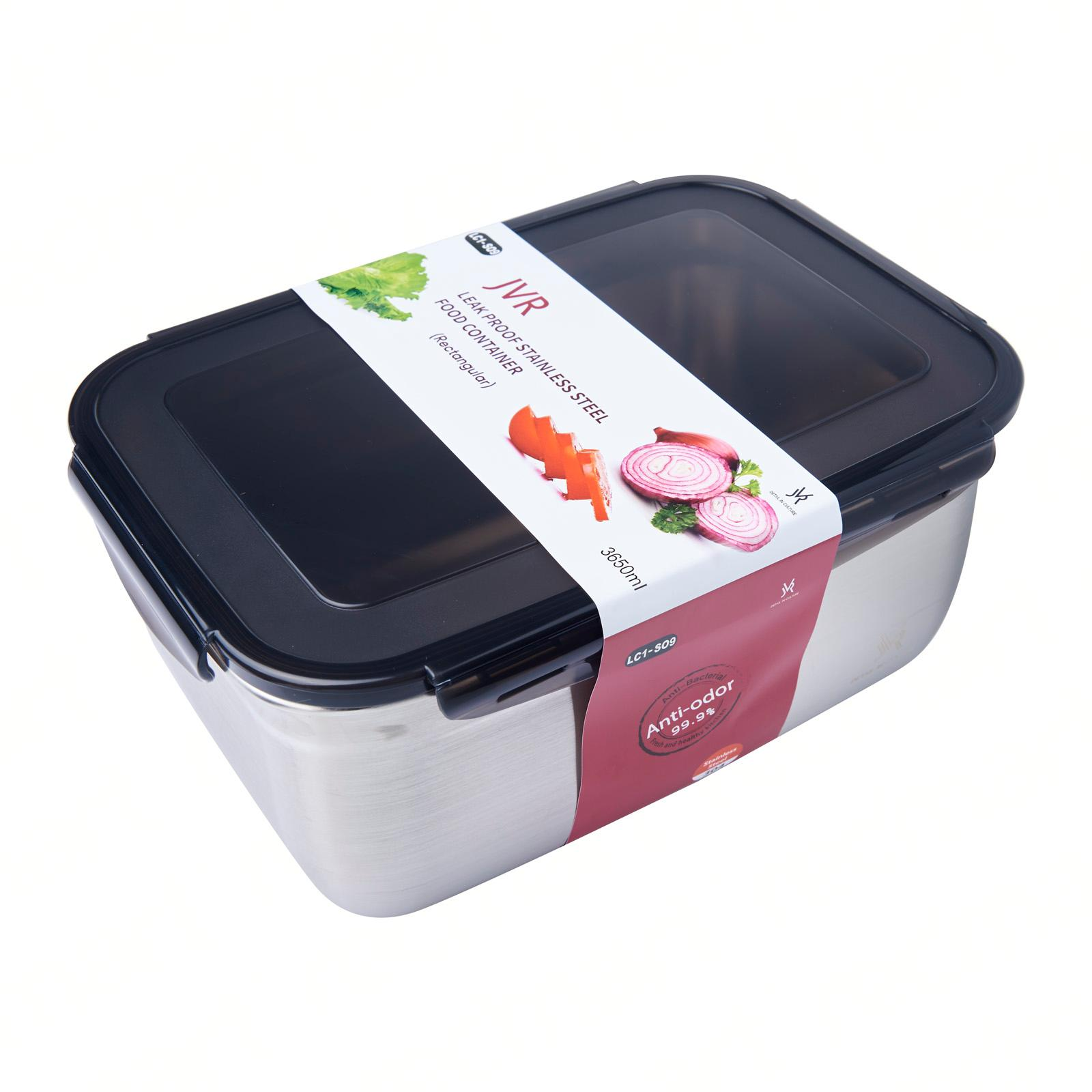 JVR Stainless Steel Food Container With Lid 3650ml Rectangular
