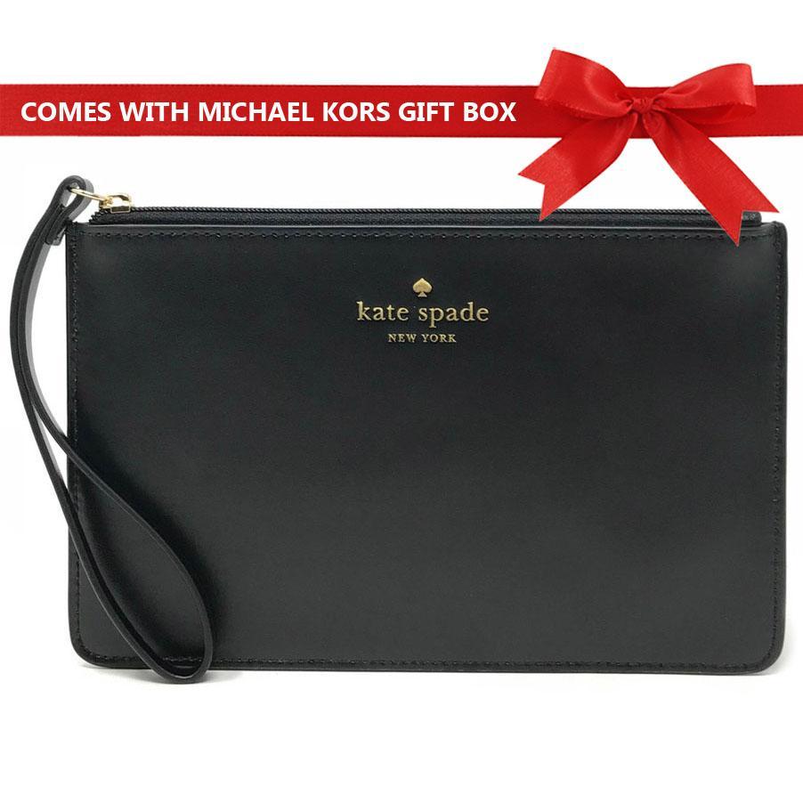 Kate Spade Wristlet In Gift Box White Street Eli Black # WLRU4899