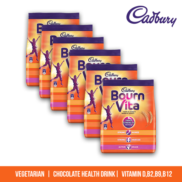 Buy Cadbury Bourn Vita 500g (PACK OF 6) chocolate drink mix, Vegetarian, Milk powder, Cadbury product, Bournvita, high in Protein, Nutrition, Chocolate flavour Singapore
