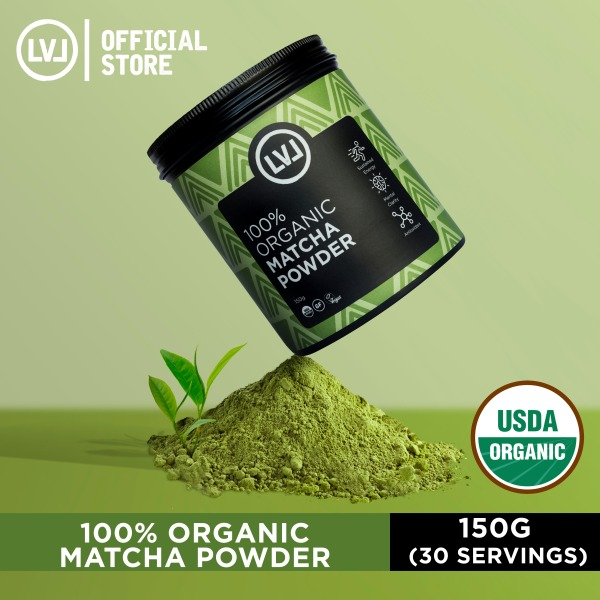 Buy LVL 100% Organic Matcha Powder Ceremonial, 150g (30 servings), Superfood Powder for Energy, Antioxidant Boost and Metabolism Support, Vegan, Gluten Free, Non GMO Singapore