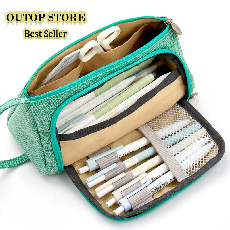 af2697c11d67 OUTOP Big Capacity Canvas Storage Pouch Pen Pencil Case Stationery Bag  Holder For School Office