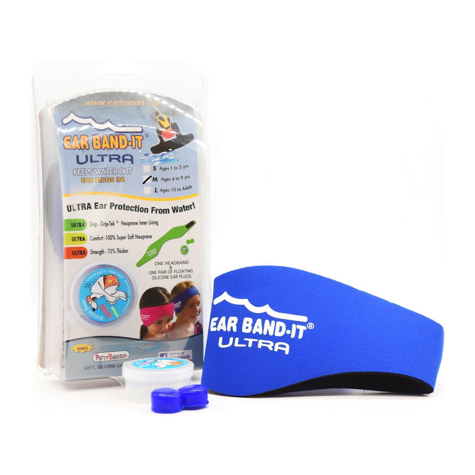 136b2c9b35 Ear Band-It Ultra Swimming Headband W/ Floating Colored Plugs Medium Blue 4-