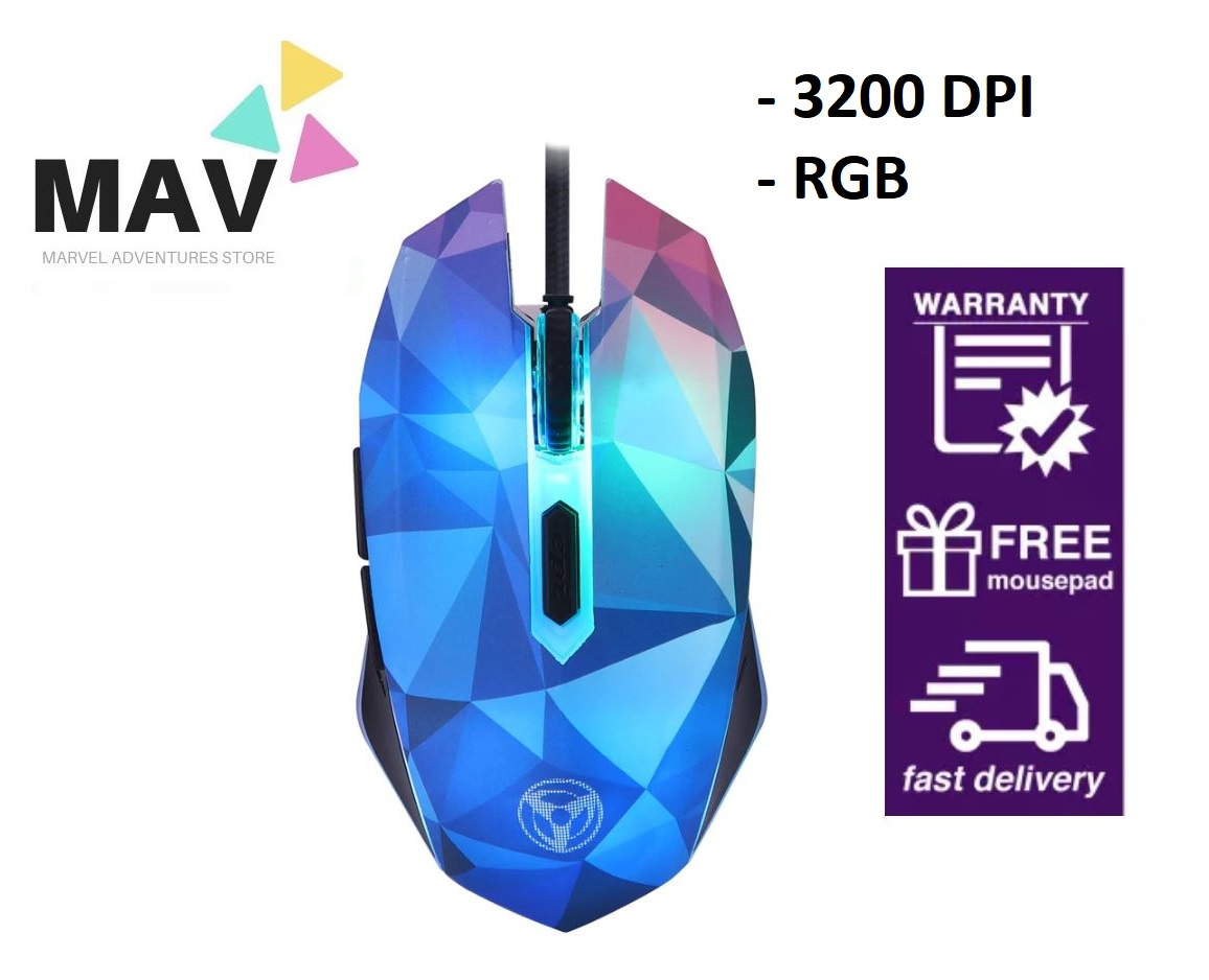 2020 Newly Released Brand Diamond Inspired Semitranslucent Design Dazzle Colour Diamond Edition Gaming Mouse Wired Mouse Gamer Optical Computer Mouse For Pro Gamer 3200 DPI (High Grade Sensor)