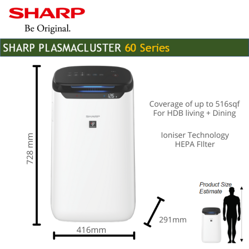 SHARP Air Purifier with humidifier removes odour FP-J60E-W Plasmacluster Technology coverage 48sqm Singapore