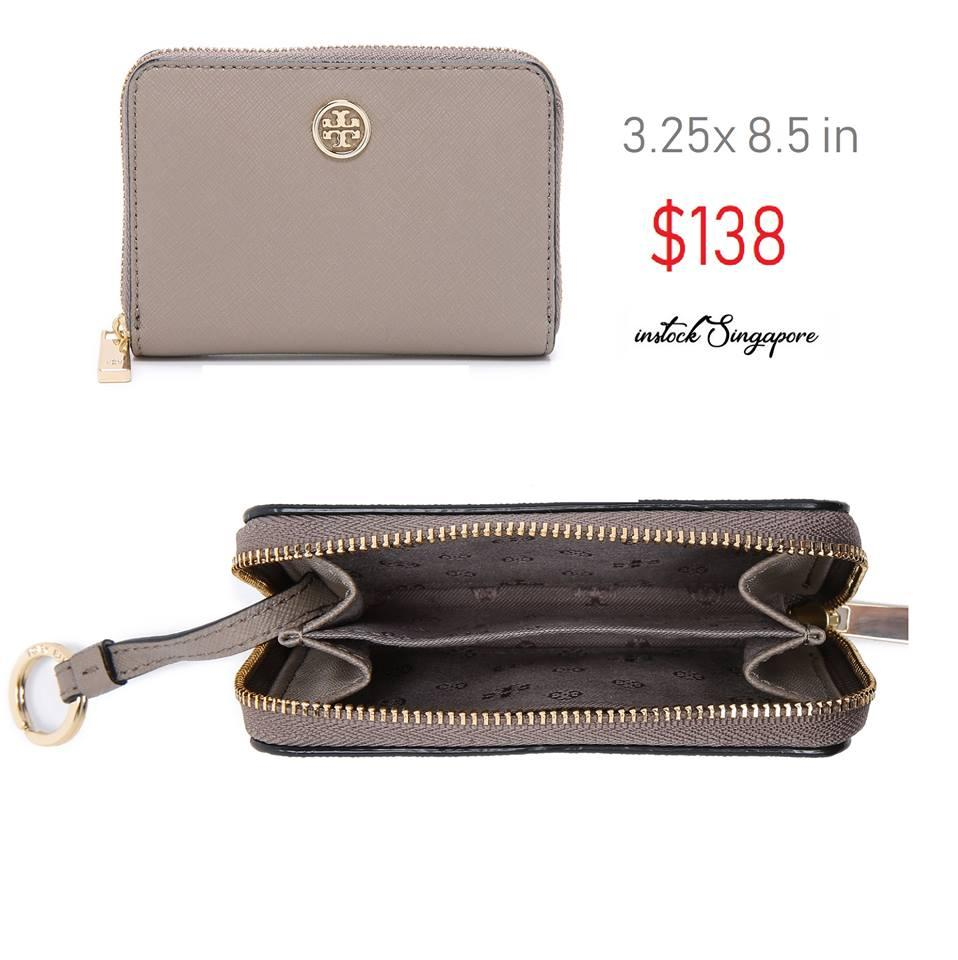 Tory Burch Robinson Zip Coin Case French Grey saffiano anti scratch