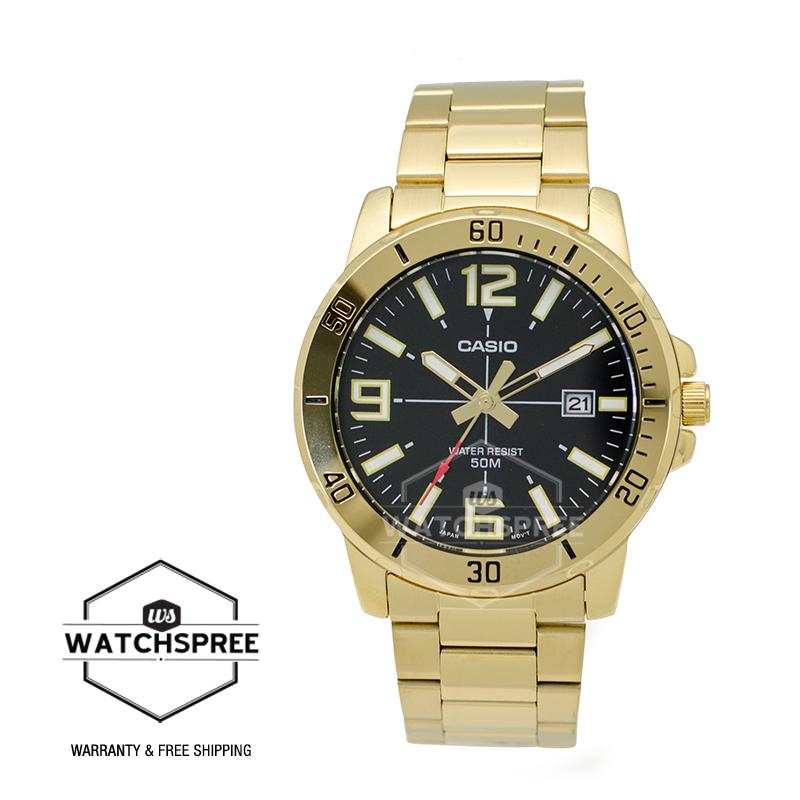 Casio Men's Diver Look Gold Tone Stainless Steel Band Watch MTPVD01G-1B MTP -VD01G