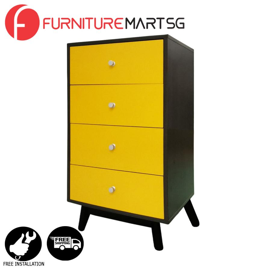 [FurnitureMartSG] Castor 4 Chest of Drawers_FREE DELIVERY + FREE INSTALLATION