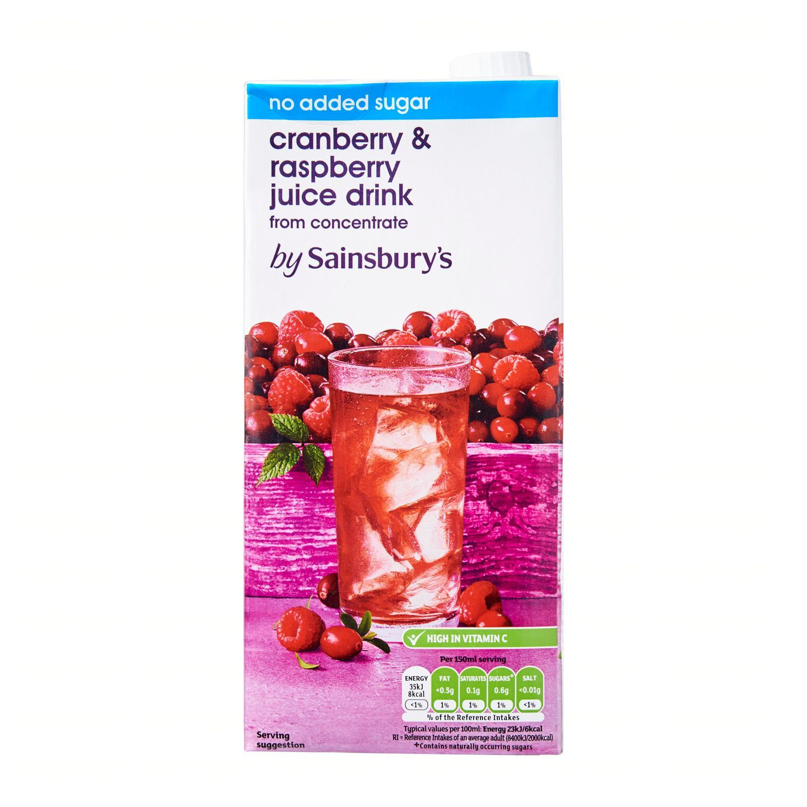 Sainsbury's Cranberry And Raspberry Juice Drink No Added Sugar