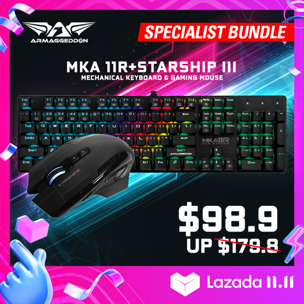 Specialist Bundle - Mechanical Gaming Keyboard and Gaming Mouse Combo MKA-5R or MKA-11R + Starship III [Armaggeddon 10th Anniversary X Lazada 11.11 Exclusive] Singapore