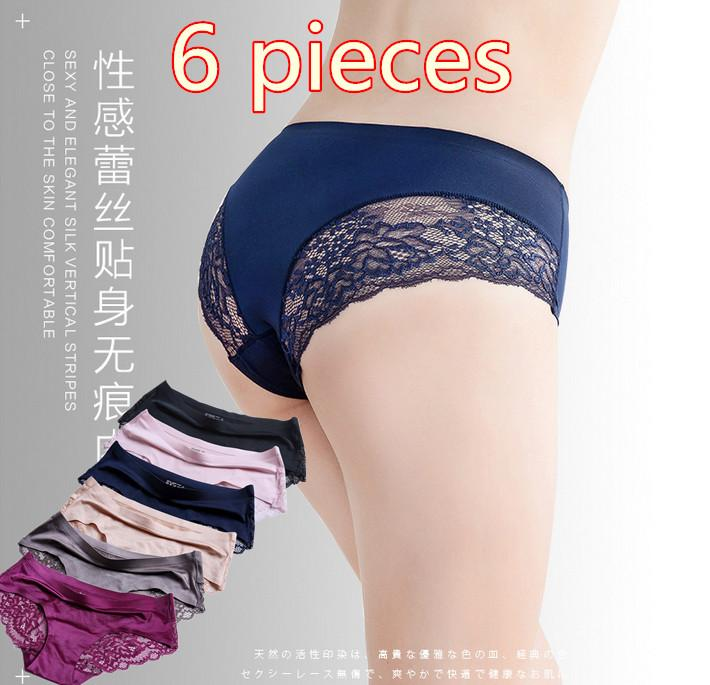 ca664b32444 6pcs lot Women Underwear Transparent Hollow Women s Lace Panties Seamless  Panty Briefs Intimates