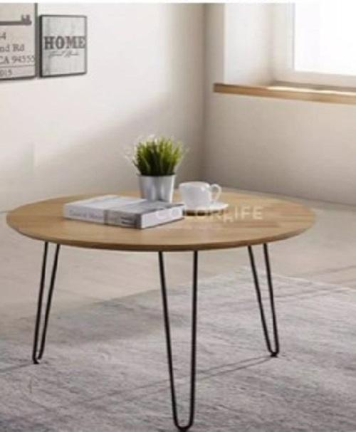 STYLO COFFEE TABLE  NATURAL COLOR (SOLID WOOD WITH METAL LEGS)