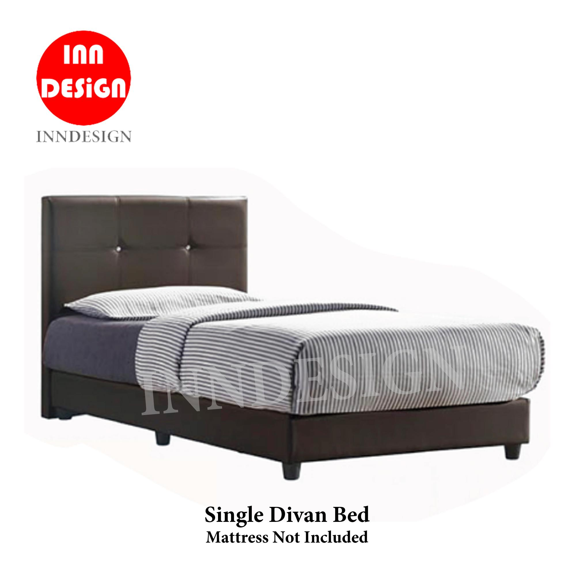 [Local seller] Moris Single Faux Leather Divan Bed With Add-On Mattress Available (Free Delivery and Installation)