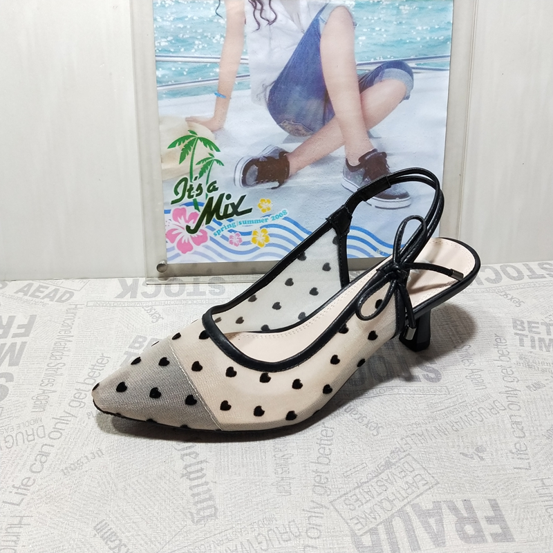 2020 Spring And Summer New Products Discount Special Offer Song Yi Celebrity Style Polka Dot Bow Tip Versatile Thin Heeled After Empty Womens Sandals.