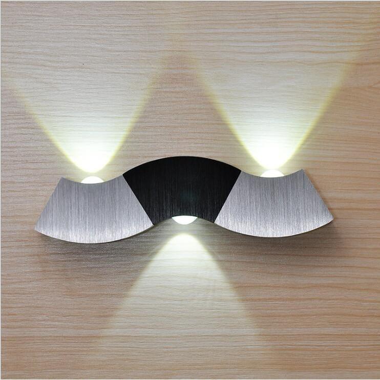 Led Wall Lamp Light 3W Aluminum Sconces Wave Shape For Hall Bedroom Corridor