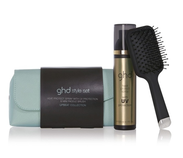 Buy GHD Heat Protect UV Spray (Full size) with Mini Paddle Brush Set (pouch included) Singapore