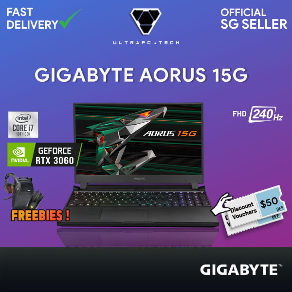[Free Delivery] Gigabyte Aorus 15G KC 8SG2130GH Gaming Laptop (i7-10870H/RTX 3060/15.6Inch 240hz/W10/2Y)