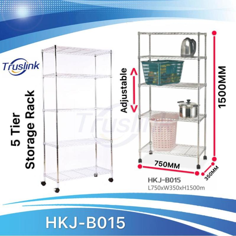 [SG Seller] Truslink 5 Tiers Waterproof Anti-corrosion Height Adjustable Multi-purpose Shelving Unit Storage Organisation Rack With wheels Suitable for Office、Kitchen、Living、Storage Room--Linear Space HKJ-B015
