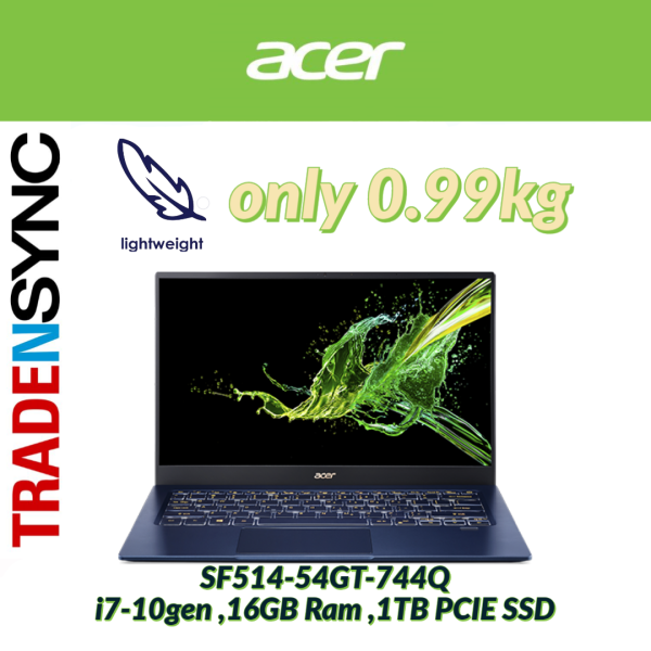 Acer Swift 5 ,i7 10gen ,16GB Ram ,1TB PCIE SSD  ,Touch screen ,14 inch Nvidia Geforce MX250, only 0.99kg (SF514-54GT-744Q)