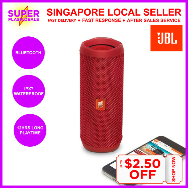 JBL Flip 4 Waterproof Portable Bluetooth Speakers Travel Bass Music Player Support Mobile Phone Samsung iPhone Oppo Xiaomi Singapore