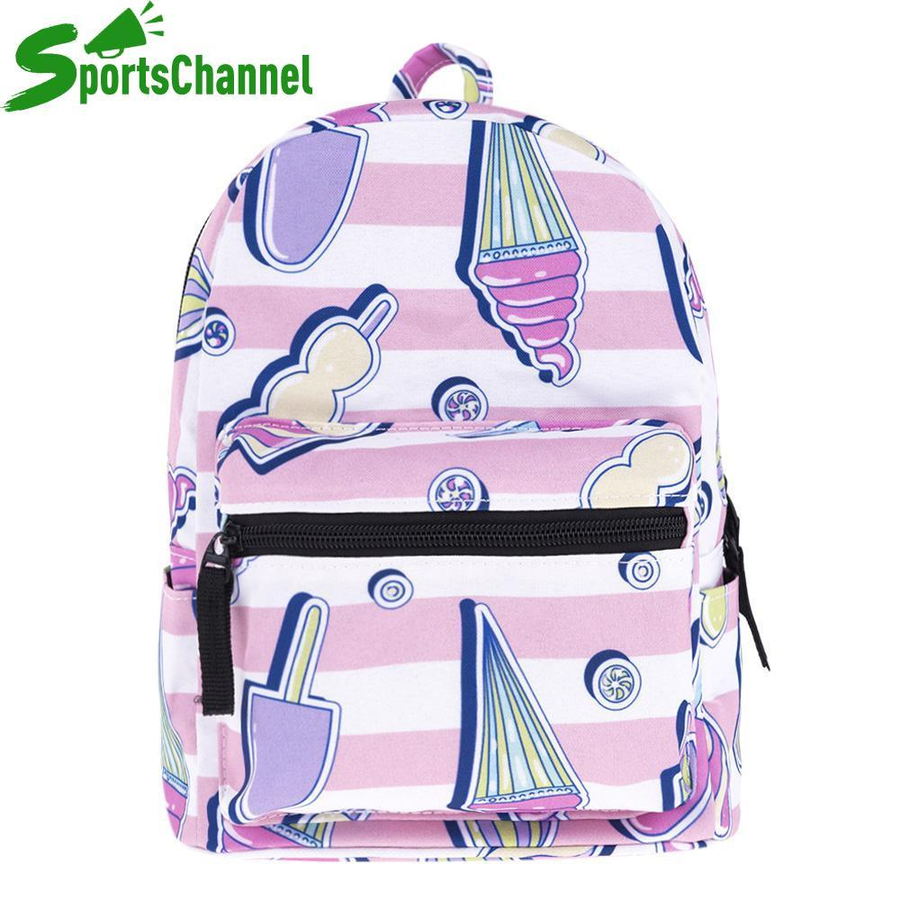 Cute Women 3D Digital Ice-Cream Print Backpacks Girl Travel Mini Schoolbags