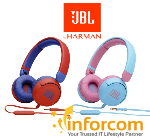 【NEW ARRIVAL】JBL JR310 Blue or Red Kid with Mic, with Safe Sound 85dB Ultra Portable On-ear Headphone Children Students Learning || Other Choices JR 310 JR310BT BT JR300 JR300BT On-Ear Headsets Singapore