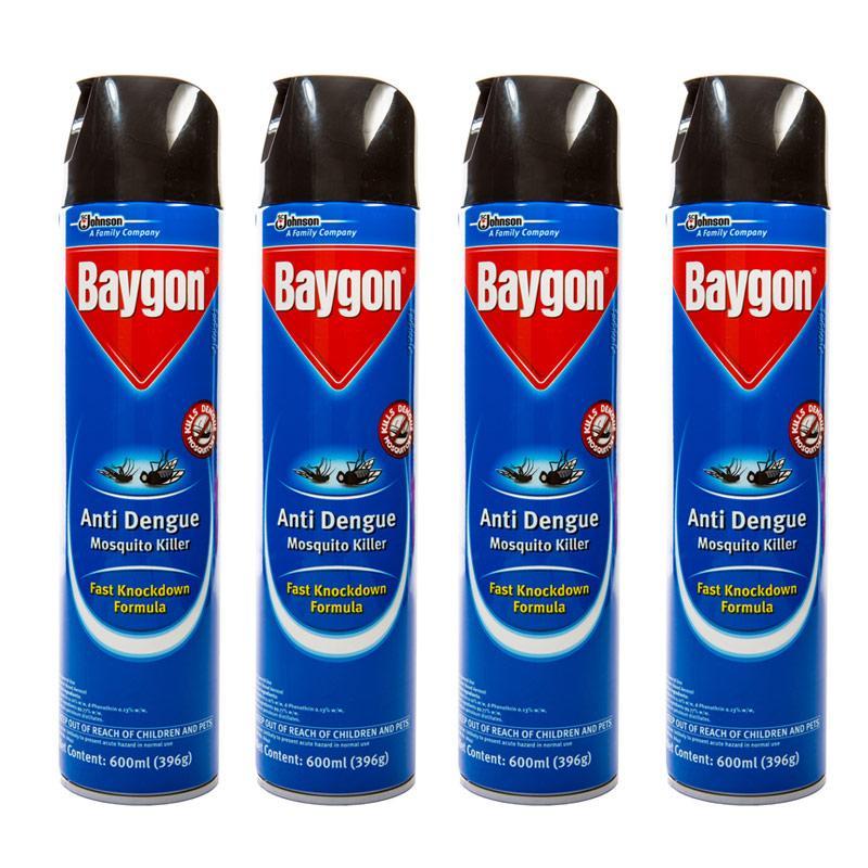 Baygon Anti Dengue Mosquito Killer 600ml X 4 By One Mart.
