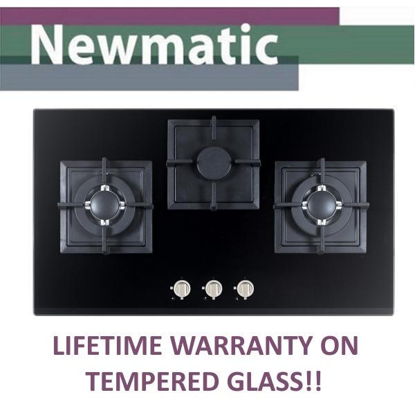 Newmatic Gas Hob Pub Pm730sttg 78cm Built-In 3 Burners Cooker Tempered Glass Gas Hob With Flame Failure Device (pub) By Newmatic (singapore) Appliance Pte Ltd.