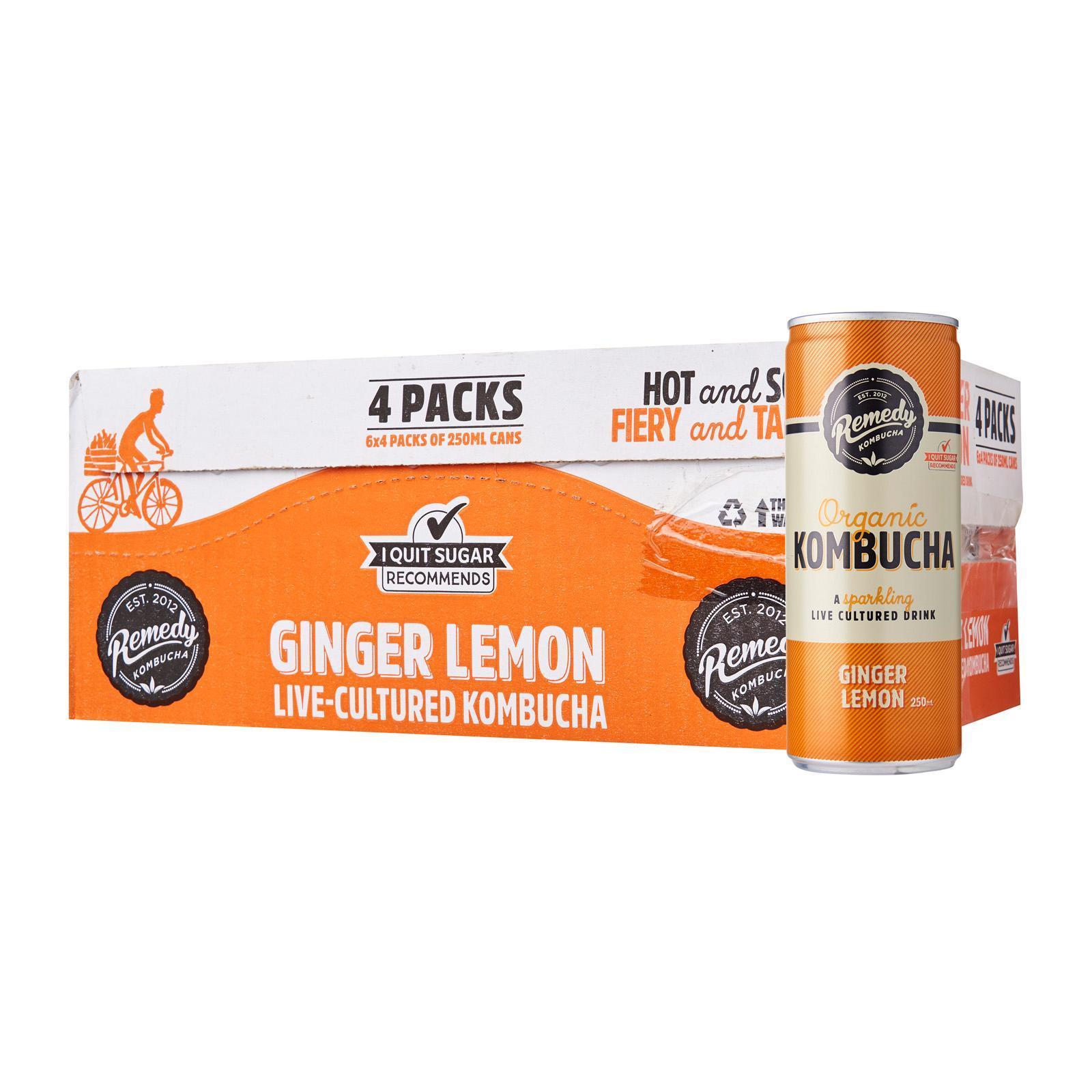 Remedy Organic Kombucha Ginger And Lemon - Case