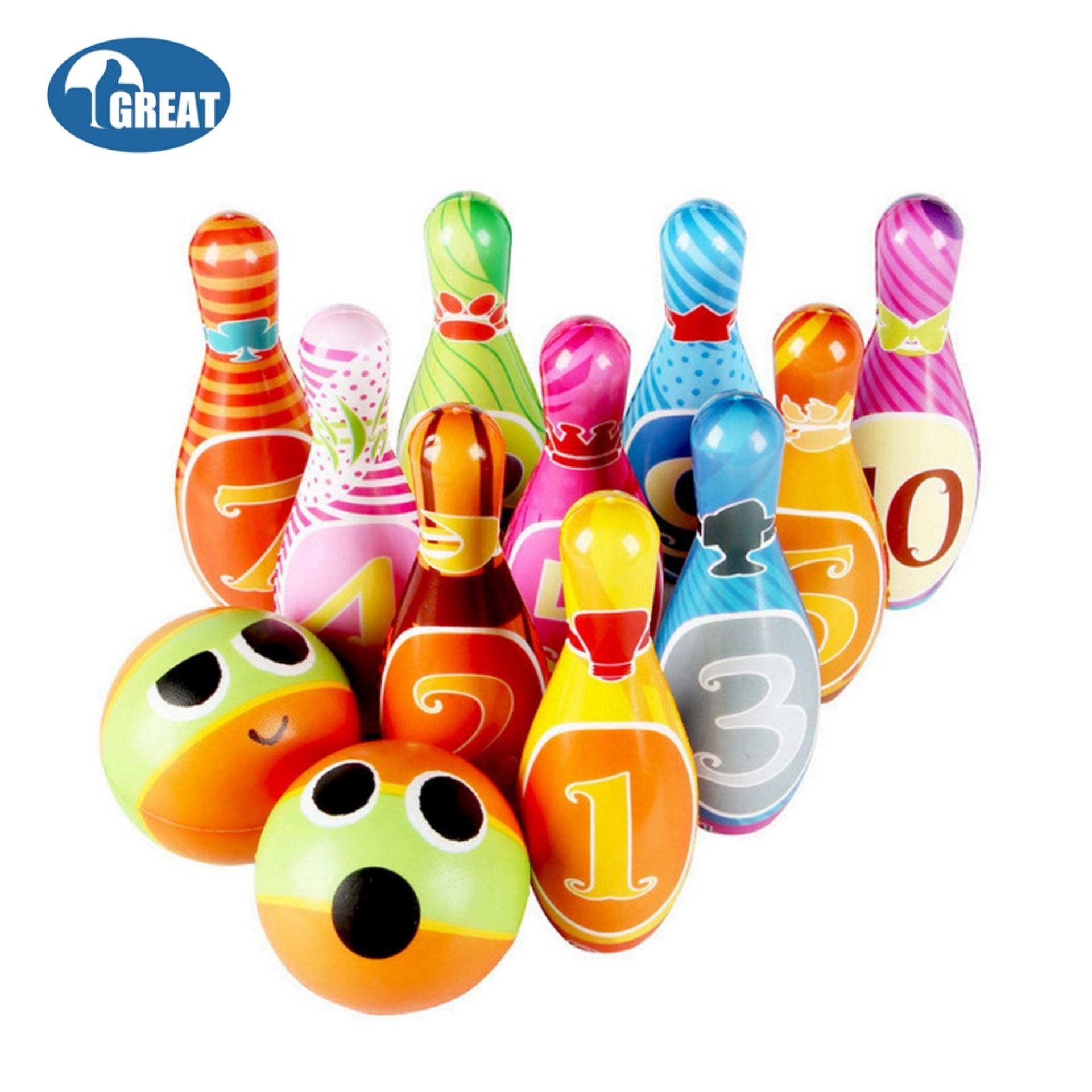 Goodgreat Kids Bowling Play Set, Foam Ball Toy Gifts, Educational, Early Development, Sport, Indoor Toys, 10 Pins And 2 Balls For Ages 2, 3, 4, 5 Year Olds Children, Toddlers, Boys, Girls - Intl By Good&great.