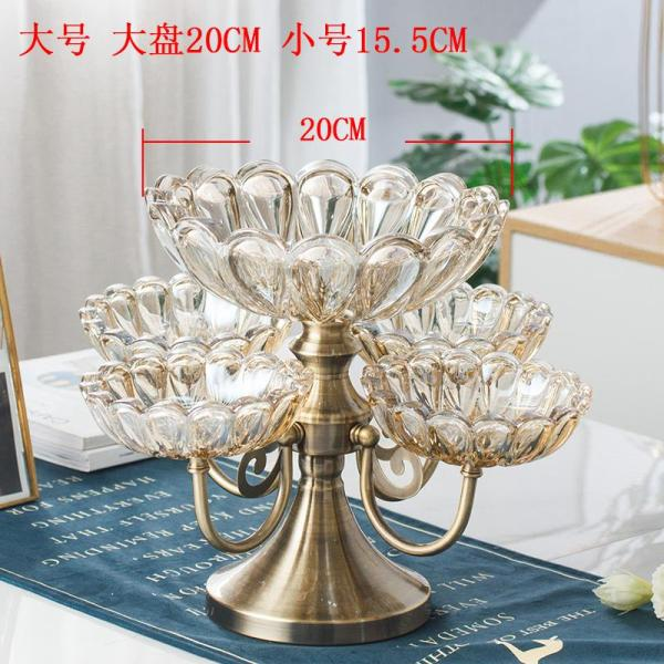European Style Crystal Glass Multilayer Online Celebrity Fruit Plate Northern Europe Home Living Room Teapoy Table Creative Light Luxury Snacks Candy Dish