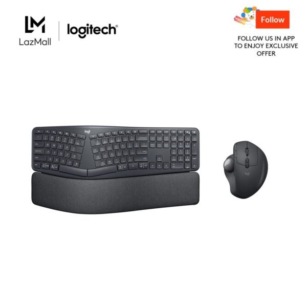 Logitech Ergo K860 Wireless Split Keyboard + Logitech MX Ergo Advanced Wireless Trackball with Logitech FLOW Technology Singapore