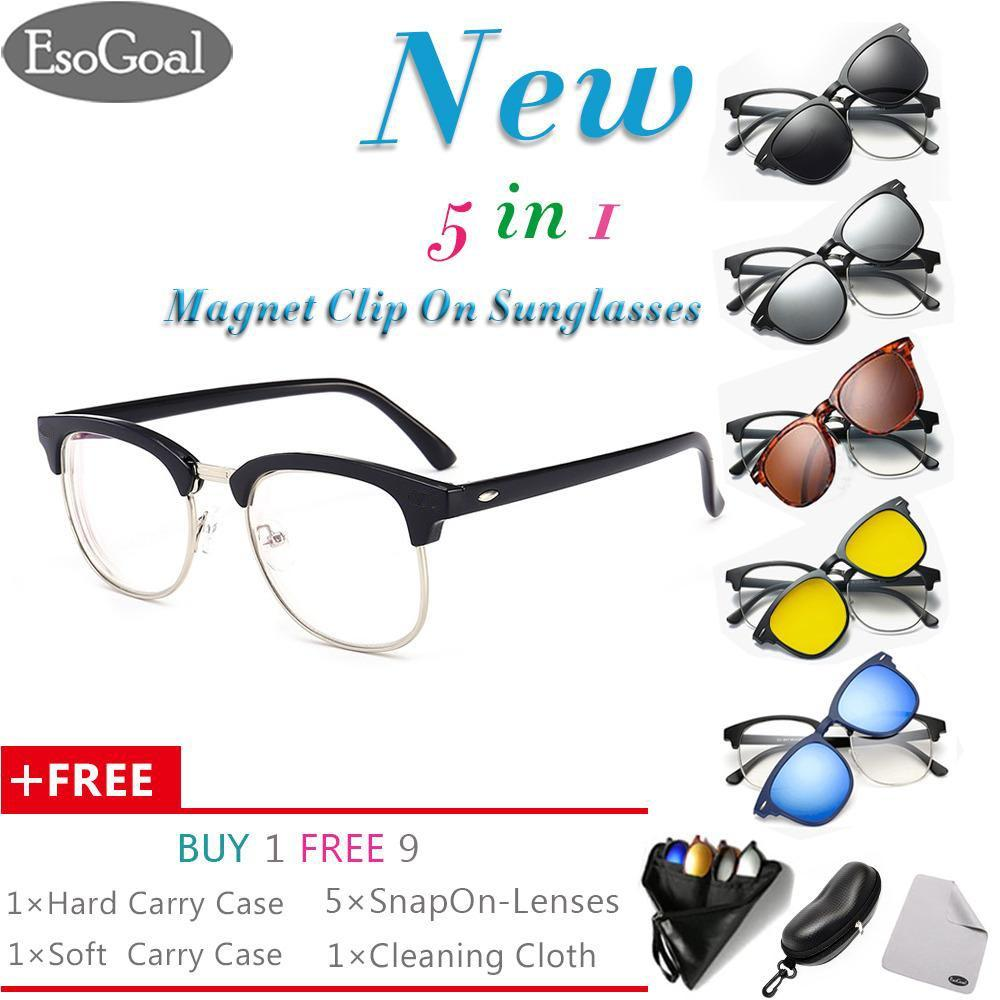 [newest]esogoal Magnetic Sunglasses Clip On Glasses Unisex Polarized Lenses Retro Frame With Set Of 5 Lenses,hard Case And Glasses Cloth By Esogoal.