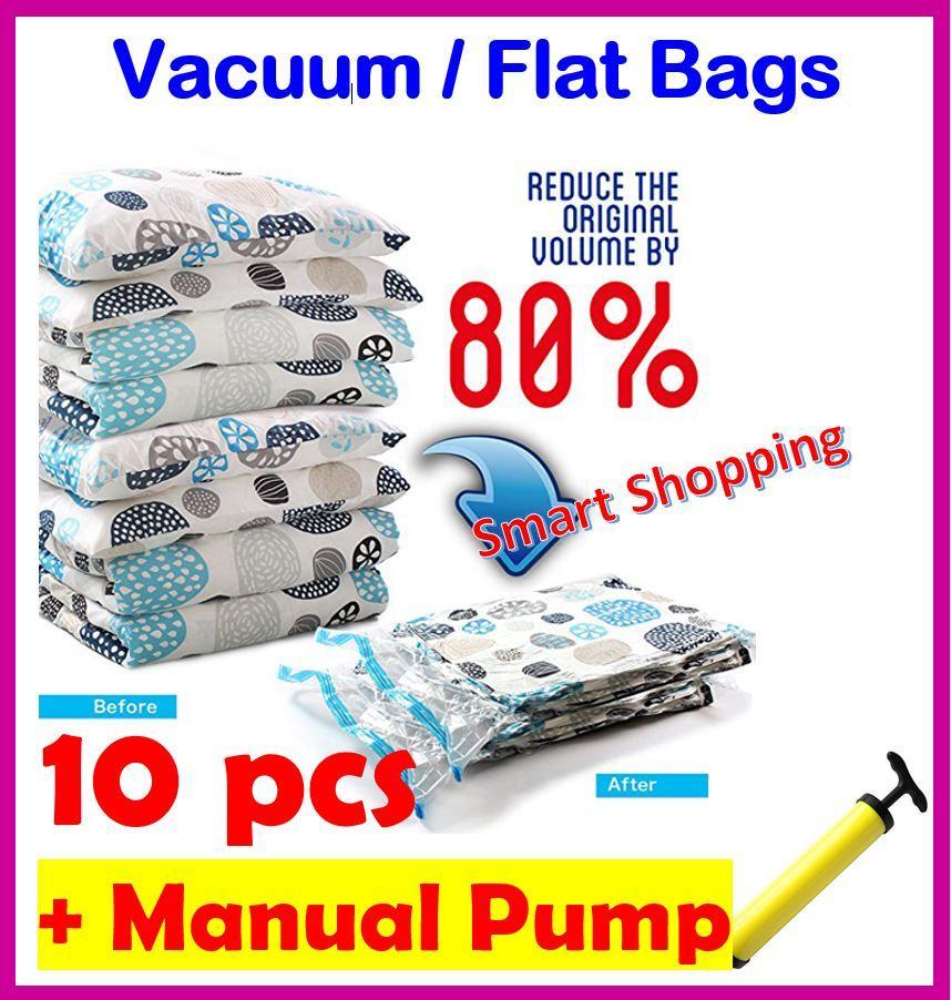 [SG Stock] 10 Bags + Manual pump Vacuum Compression Storage Bag Zip Lock Transparent Space Savers Travel Waterproof Durable Travelling