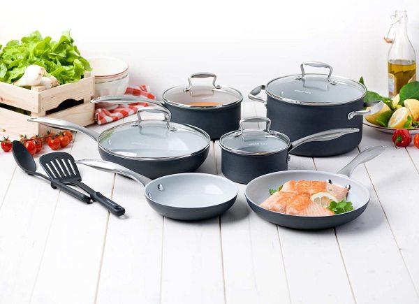 GreenLife Classic Pro 12 piece Hard Anodized Healthy Ceramic Nonstick Metal Utensil Dishwasher Oven Safe Kitchenware Cookware Kitchen Pot Frying Pan Saucepan Set, Light Gray Singapore
