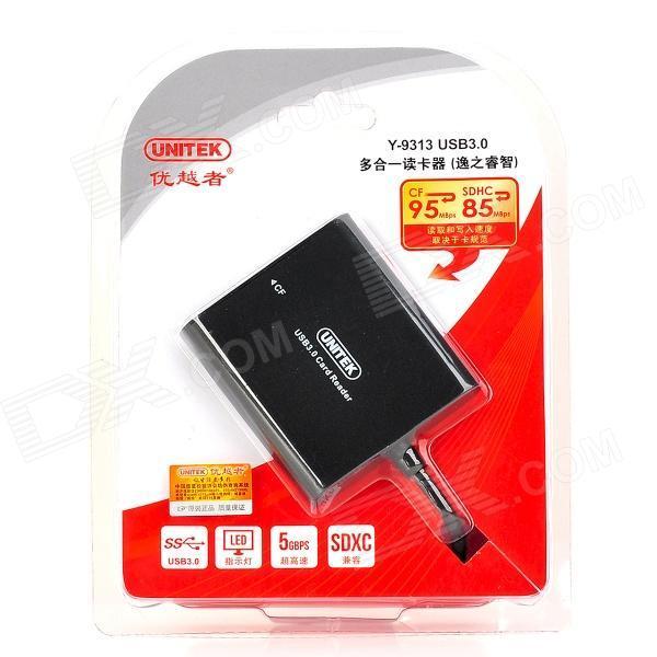 UNITEK Y-9313 USB 3.0 Card Reader for CF / TF / SDHC / SDXC - black