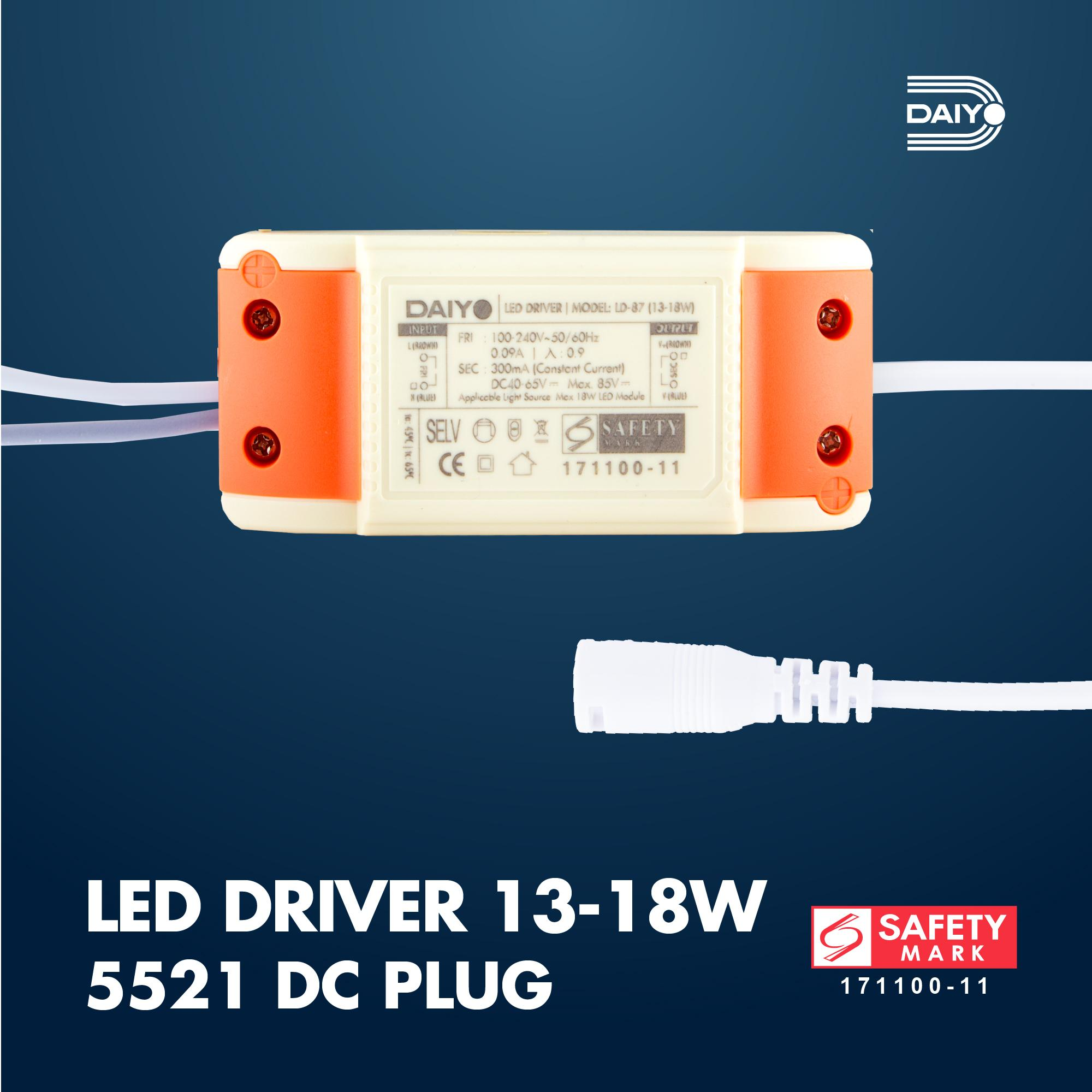 13-18W LED Driver / 5521 DC Plug 300mA