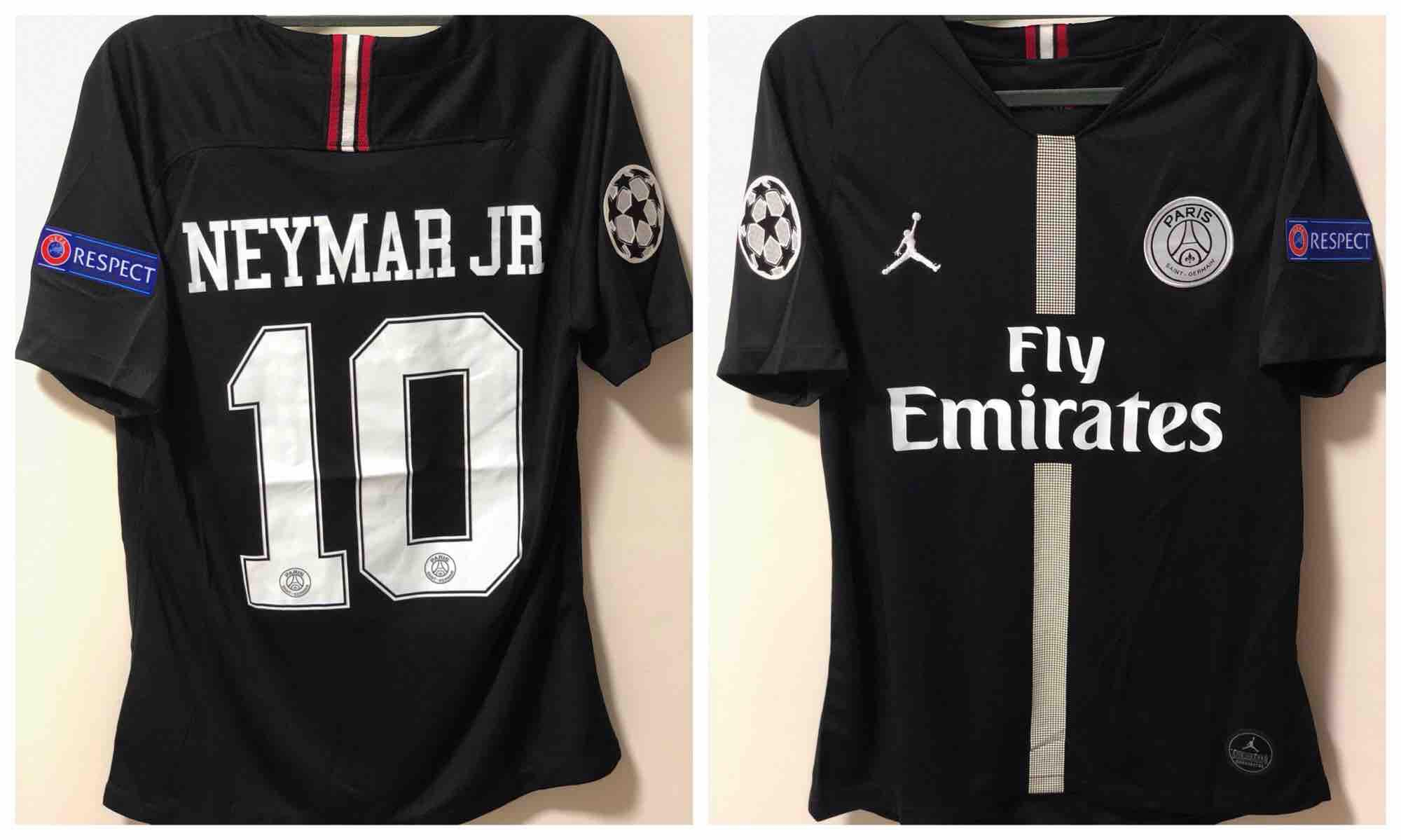 18 19 Jordan Brand (NEYMAR JR) PSG Black Third Authentic Football Jersey c82cb8dee