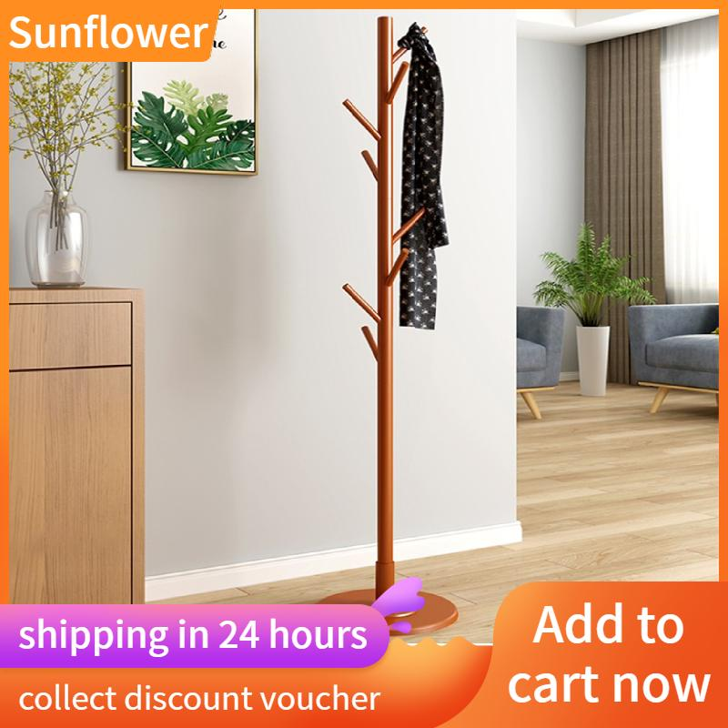 Sunflower [Free gift] Wooden Hanger Floor Standing Coat Rack Home Furniture Clothes Round Base Rack