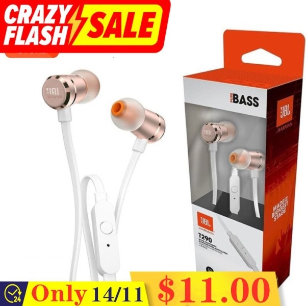 Original JBL T290 In-Ear Headphones 3.5mm Jack Wired With Pure Bass High Performance Sports Gaming Earphones with Universal Button Remote/Mic Harman Aluminum For ios iPhone and Android Huawei/Xiaomi/oppo/vivo/Samsung Singapore