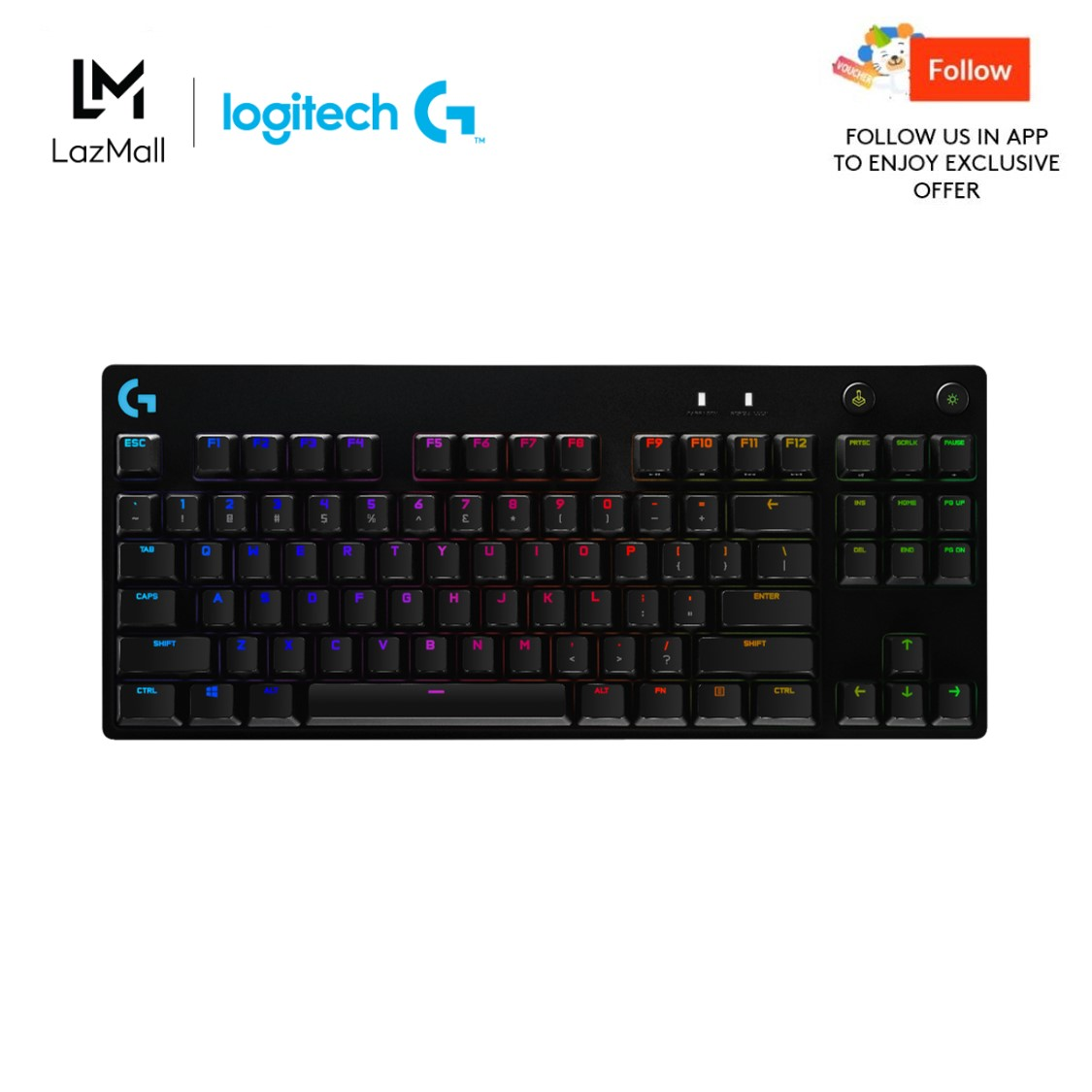 Logitech G Pro X Mechanical RGB Gaming Keyboard with Swappable Switches (Comes with GX Blue Clicky Switches)