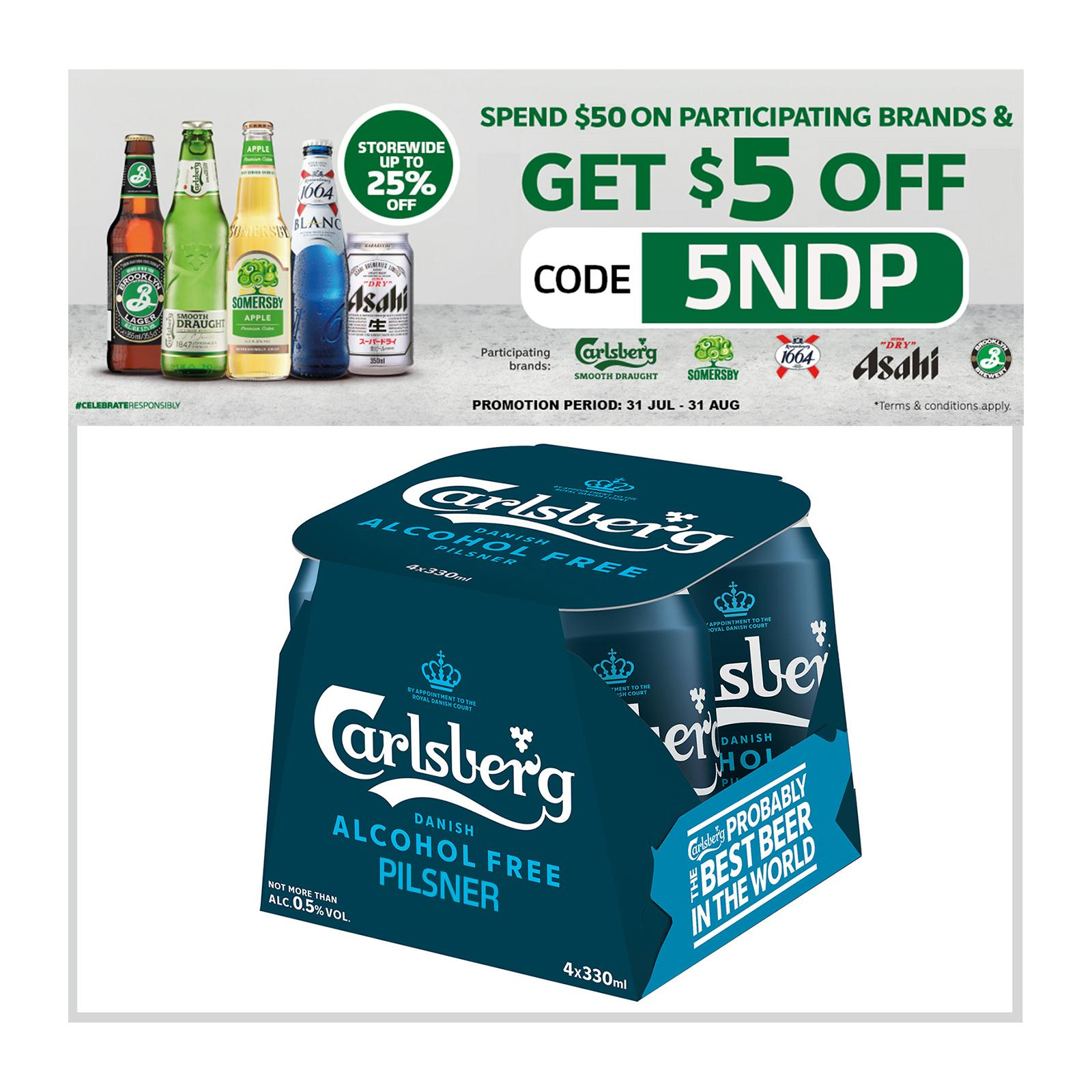 Carlsberg Alcohol-Free Pilsner Beer Can 330ml (Pack of 4)