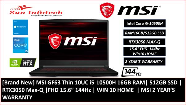"[Brand New] MSI GF63 Thin 10UC i5-10500H 16GB RAM| 512GB SSD | RTX3050 Max-Q |FHD 15.6"" 144Hz | WIN 10 HOME  | MSI 2 YEAR'S WARRANTY"
