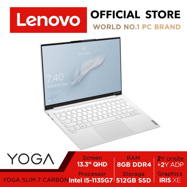 Lenovo Yoga Slim 7i Carbon 82EV0037SB | 11th Gen i5-1135G7 | 13.3 QHD 16:10 | Ultra-light 966g | Military-grade | Moon White | Up to 15 hours* of battery life | 2Years Lenovo premium warranty