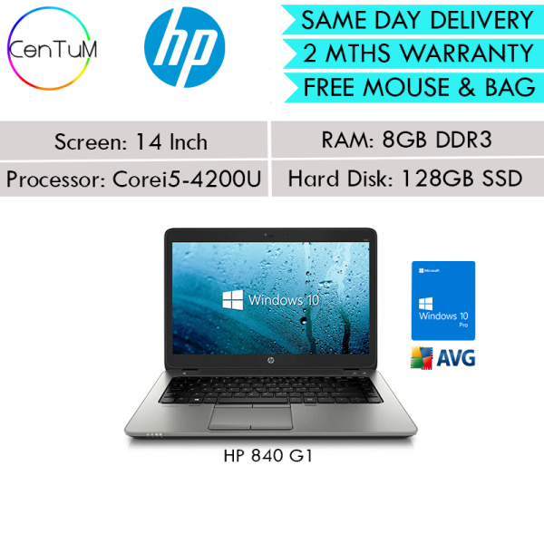 [Same Day Delivery] Refurbished HP Elitebook  820 840 G1 12 14 Inch Laptop Core i5 / 8GB / 128GB SSD / Win10 Pro