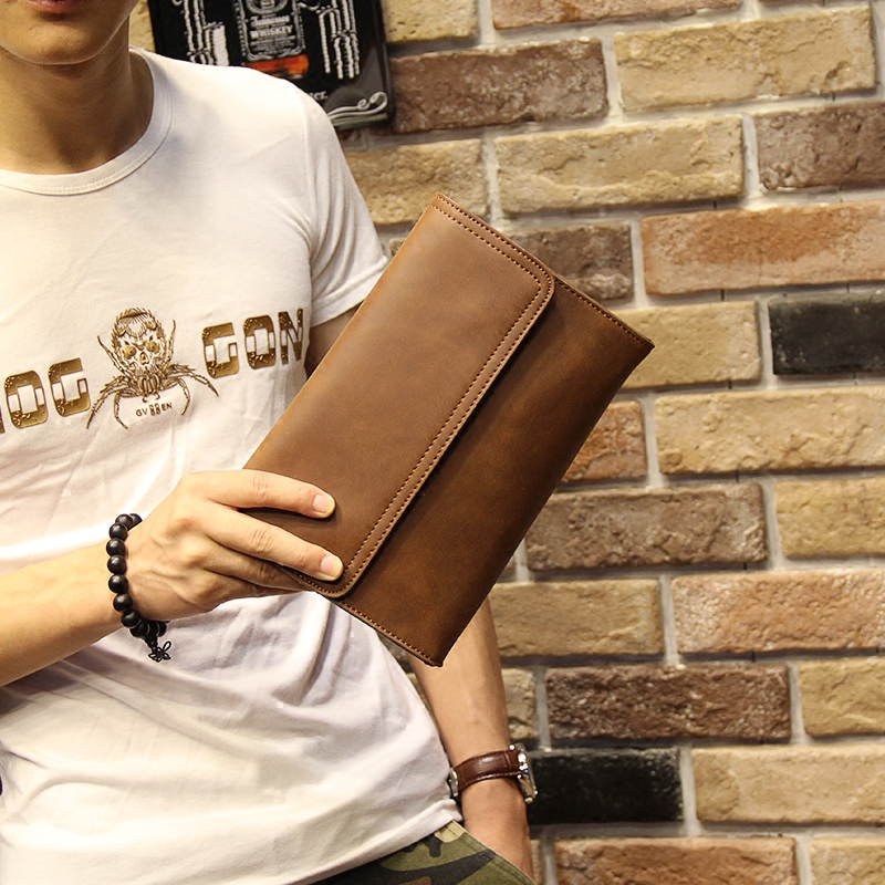 Mens Soft Leather Clutch Bag Easy To Carry Handle Casual Medium Size Mobile Wallet