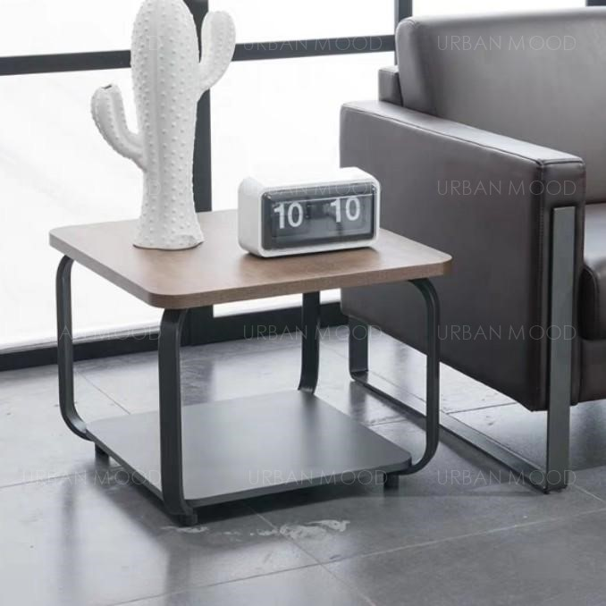 ALFRED Modern Industrial Wooden Rounded Corner Coffee Table