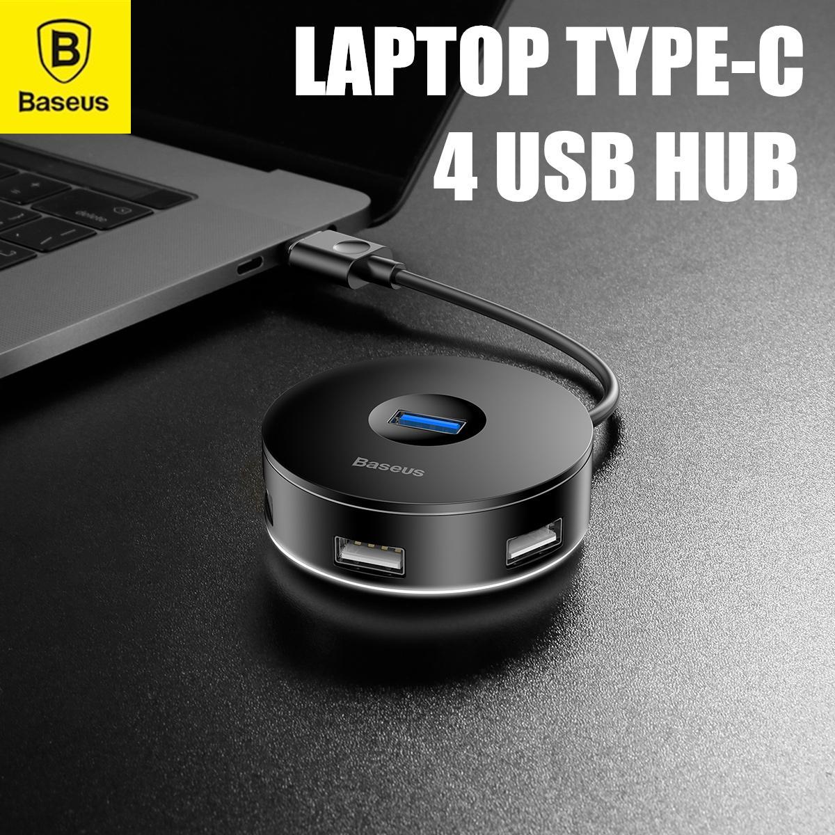 BASEUS Round Box Hub Adapter Type C to USB3.0 X 1+USB2.0 X 3 Converter